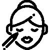 Viso donna stilizzato con matita make-up
